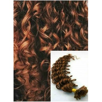 Kudrnaté vlasy na keratin, 50 cm 0,7g/pr., 50 pramenů - SVĚTLEJŠÍ HNĚDÉ