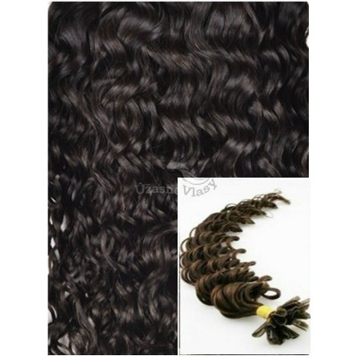 Kudrnaté vlasy na keratin, 60 cm 0,5g/pr., 50 pramenů - TMAVĚ HNĚDÉ