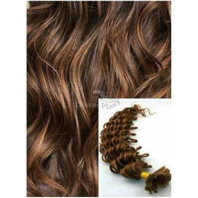 Kudrnaté vlasy na keratin, 60 cm 0,5g/pr., 50 pramenů - SVĚTLEJŠÍ HNĚDÉ