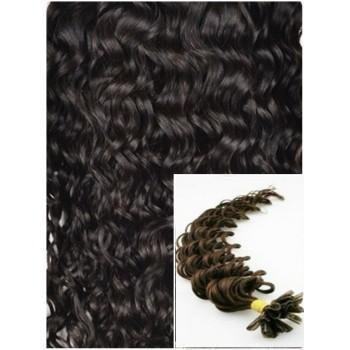 Kudrnaté vlasy na keratin, 60 cm 0,7g/pr., 50 pramenů - TMAVĚ HNĚDÉ