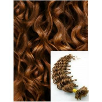 Kudrnaté vlasy na keratin, 60 cm 0,7g/pr., 50 pramenů - SVĚTLE HNĚDÉ
