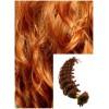 Kudrnaté vlasy na keratin, 60 cm 0,7g/pr., 50 pramenů - MĚDĚNÉ