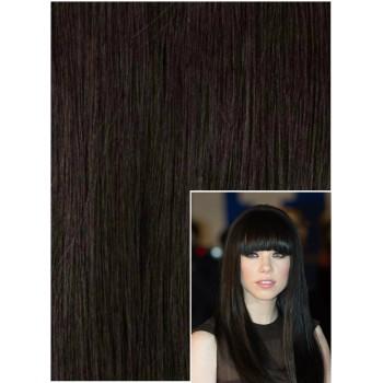 DELUXE Clip in 40cm 140g REMY lidské vlasy - PŘÍRODNĚ ČERNÉ