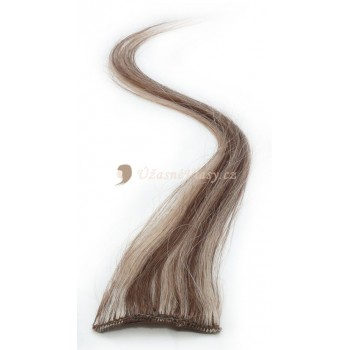 Melírované světle hnědé/nejsvětlejší blond vlasy k prodloužení - Clip-in proužky, 50 cm (012/613)