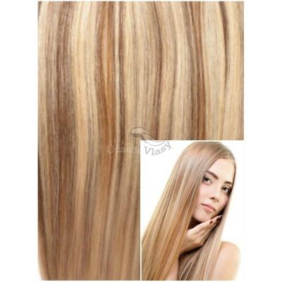 DELUXE Clip in 40cm 140g REMY lidské vlasy - SVĚTLÝ MELÍR