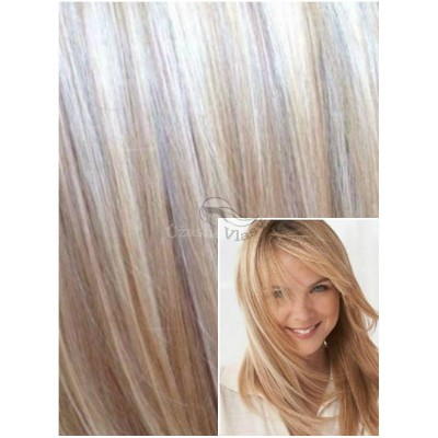 DELUXE Clip in 40cm 140g REMY lidské vlasy - PLATINOVÁ BLOND / SVĚTLE HNĚDÁ