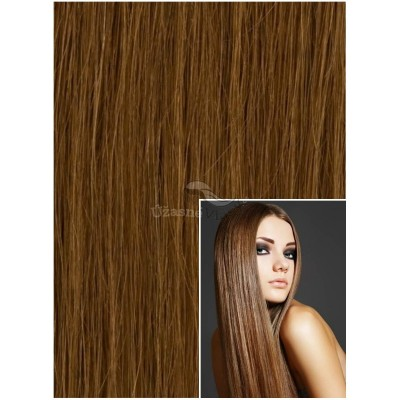 DELUXE Clip in 50cm 200g REMY lidské vlasy - SVĚTLE HNĚDÉ