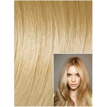 DELUXE Clip in 50cm 200g REMY lidské vlasy - PŘÍRODNÍ / SVĚTLEJŠÍ BLOND