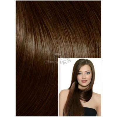 DELUXE Clip in 60cm 240g REMY lidské vlasy - STŘEDNĚ HNĚDÉ