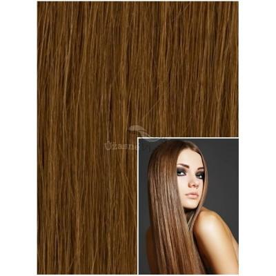 DELUXE Clip in 60cm 240g REMY lidské vlasy - SVĚTLE HNĚDÉ