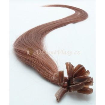 Světle hnědé vlasy k prodloužení - keratin, 50 cm, 20 pramenů (012)