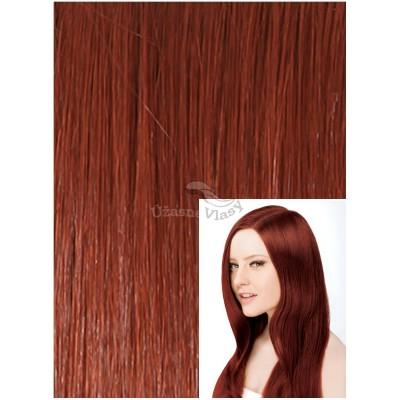 DELUXE Clip in 60cm 240g REMY lidské vlasy - MĚDĚNÁ