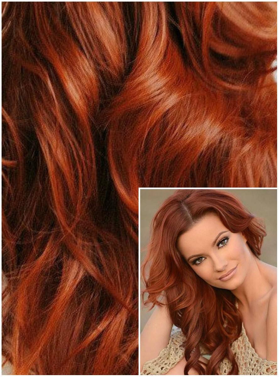 VLNITÉ DELUXE Clip in 50cm 200g REMY lidské vlasy - MĚDĚNÉ