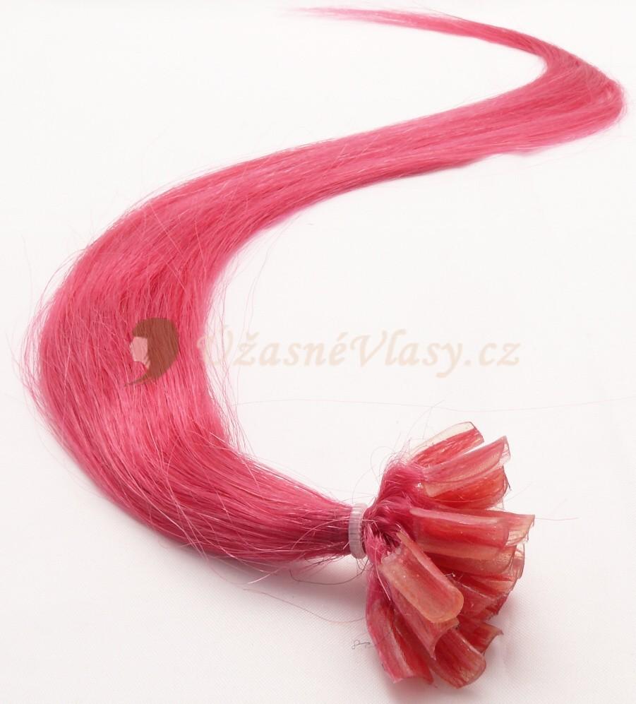 Vášnivě růžové vlasy k prodloužení - keratin, 50 cm, 25 pramenů (HOTPINK)