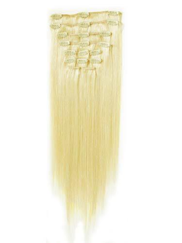 Nejsvětlejší blond vlasy k prodloužení - Clip in set, 8 ks, 50 cm (613)