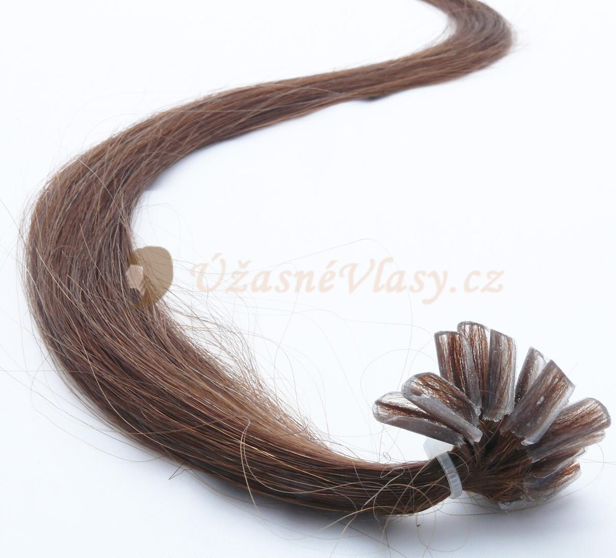 Středně hnědé vlasy k prodloužení - keratin, 50 cm, 25 pramenů (004)