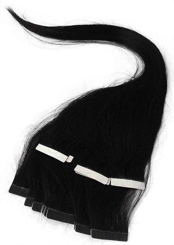 Uhlově černé vlasy k prodloužení - Tape in REMY proužky, 50 cm (001), 20 ks
