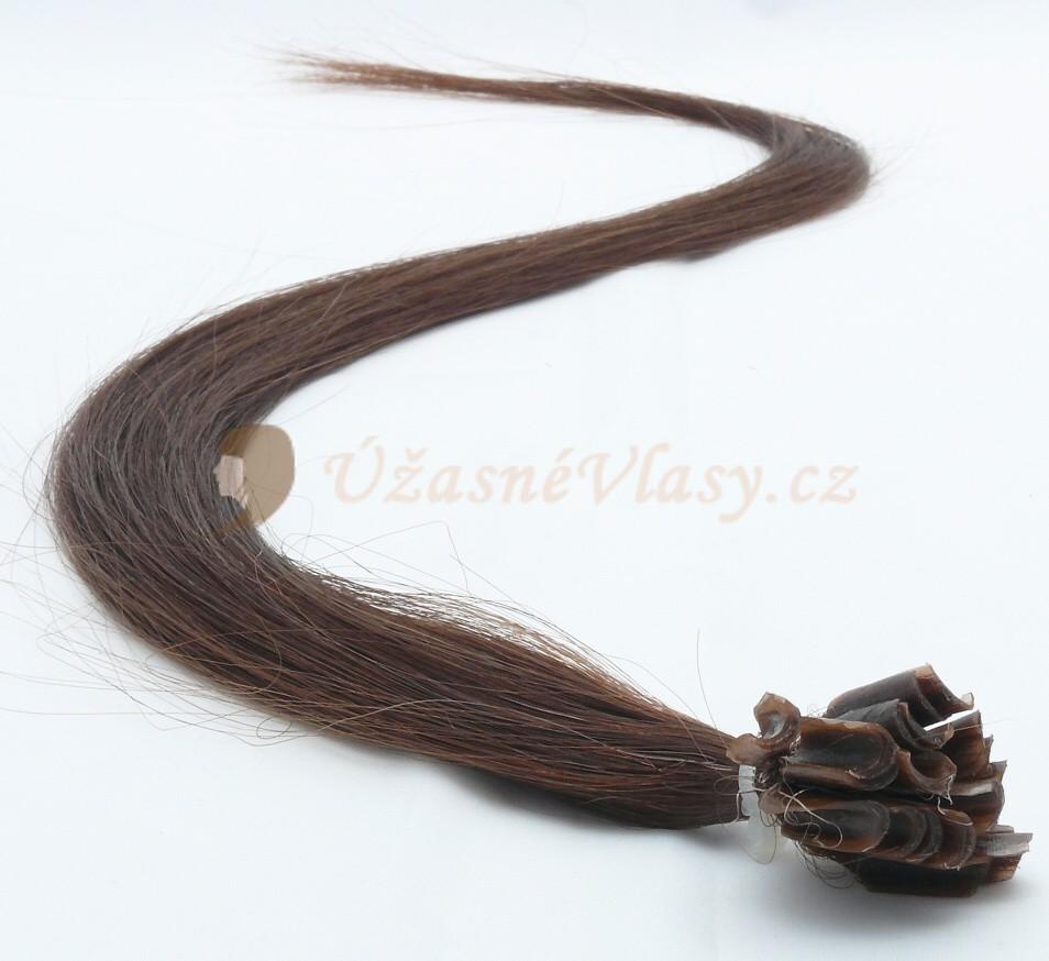 Tmavě hnědé vlasy k prodloužení - keratin, 60 cm, 25 pramenů (002)