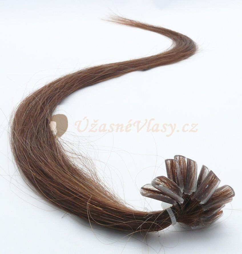 Středně hnědé vlasy k prodloužení - keratin, 60 cm, 25 pramenů (004)