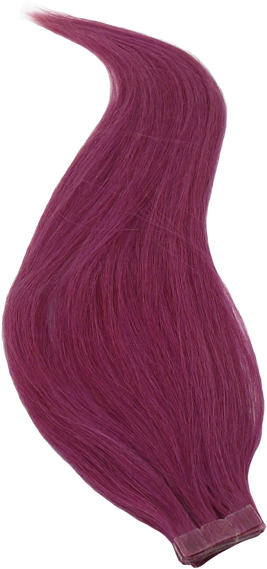 Fialové vlasy k prodloužení - Tape in REMY proužky, 50 cm (PURPLE), 20 ks