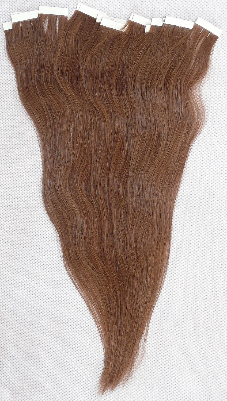 Kaštanové vlasy k prodloužení - Tape in REMY proužky, 50 cm (008), 20 ks