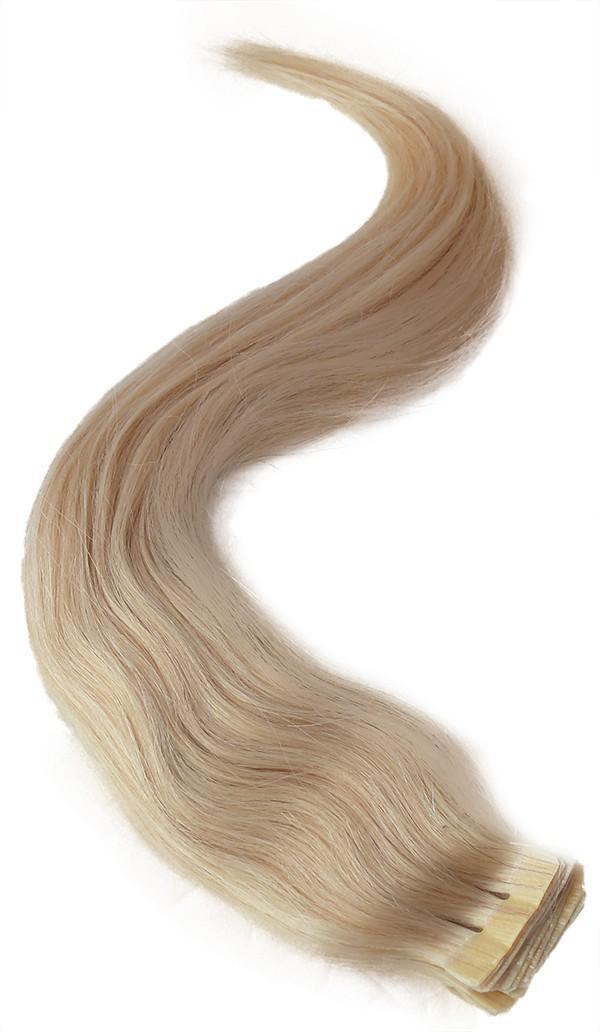 Nejsvětlejší blond vlasy k prodloužení - Tape in REMY proužky, 50 cm (613), 20 ks