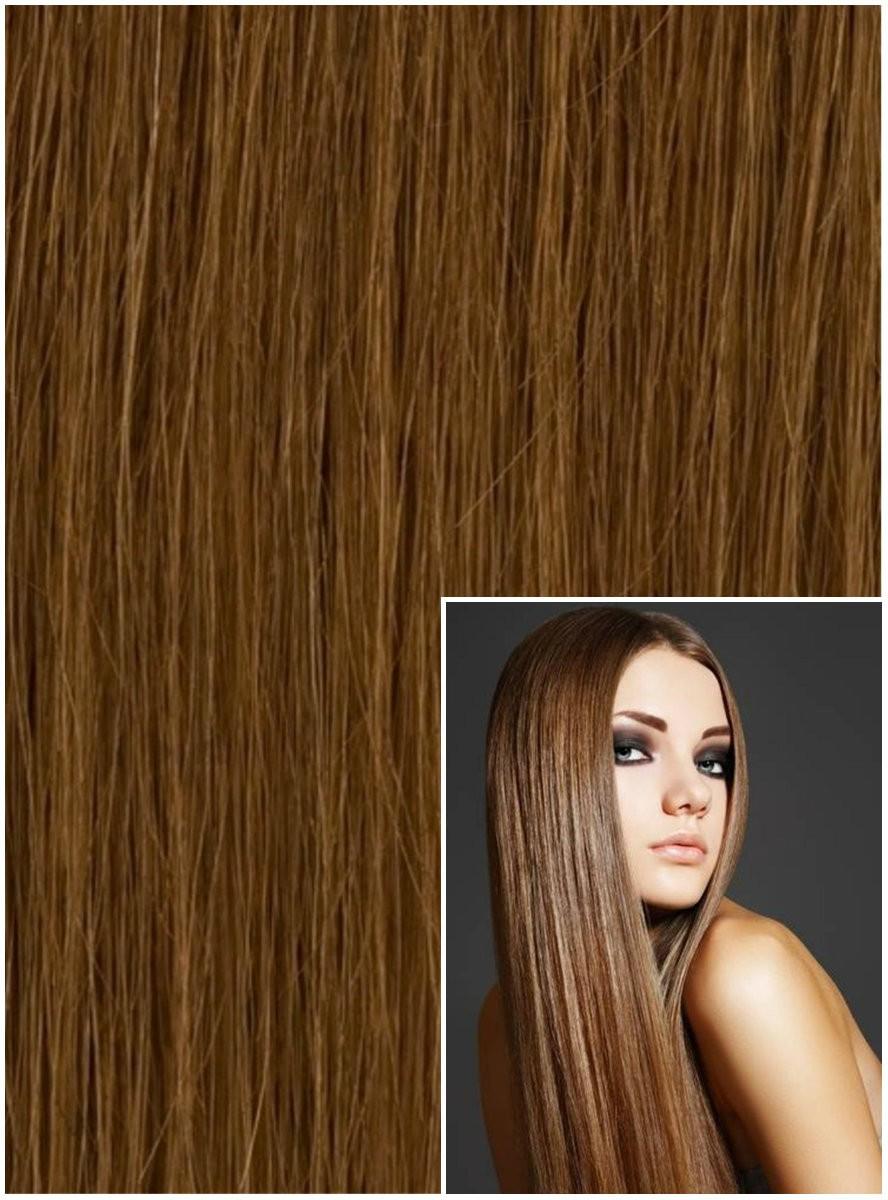 Clip in 40cm 100g REMY lidské vlasy - SVĚTLE HNĚDÉ