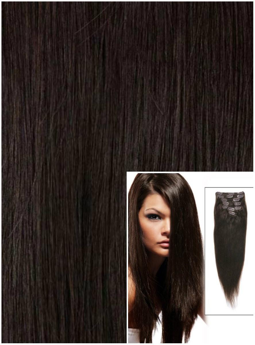 Clip in 50cm 100g REMY lidské vlasy - PŘÍRODNÍ ČERNÉ