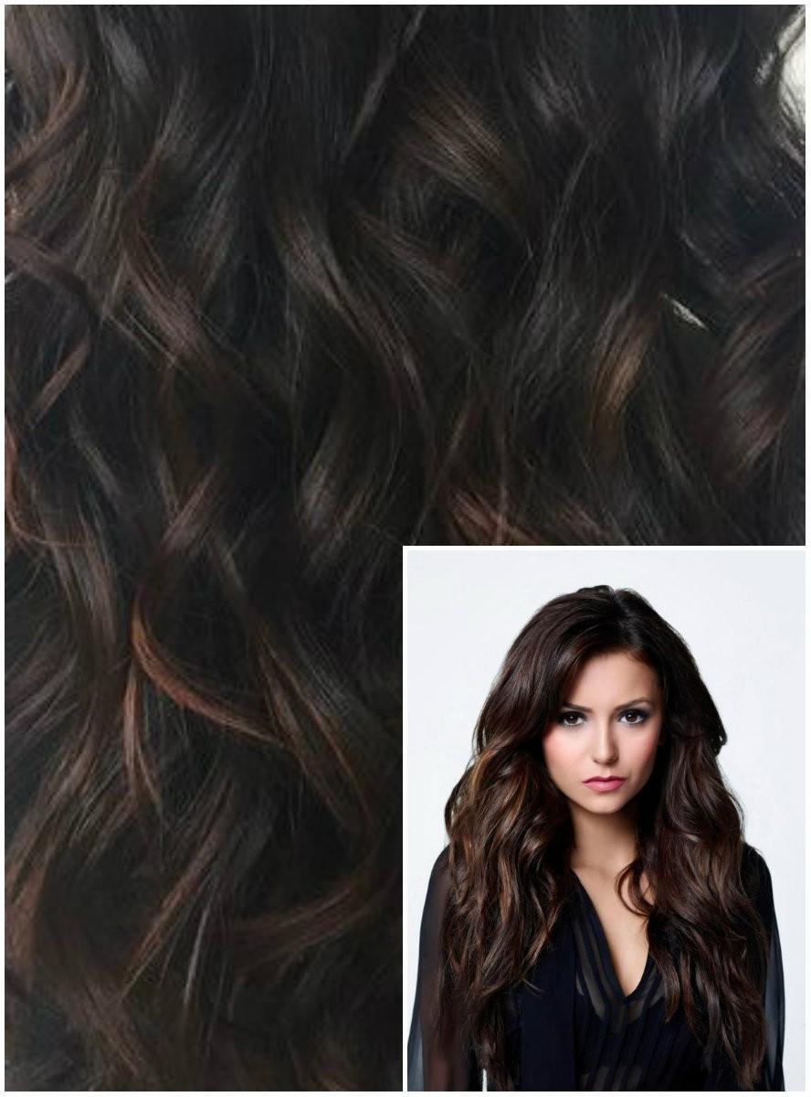 Clip in VLNITÉ 50cm 100g REMY lidské vlasy - TMAVĚ HNĚDÉ