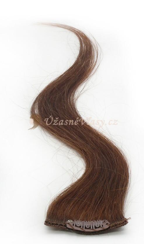 Kaštanové vlasy k prodloužení - Clip in prameny, 50 cm (008)