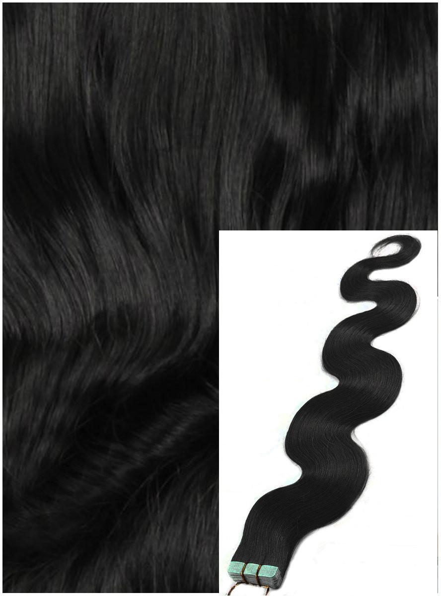 Vlnité vlasy k prodloužení tape in, 50 cm, 40 ks - ČERNÉ