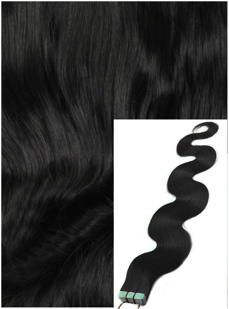 Vlnité vlasy k prodloužení tape in, 60 cm, 40 ks - ČERNÉ