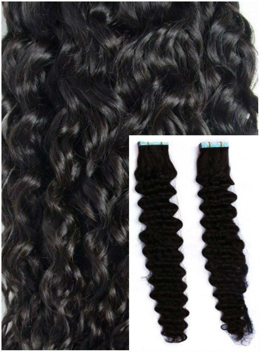 Kudrnaté vlasy k prodloužení tape in, 60 cm, 40 ks - ČERNÉ