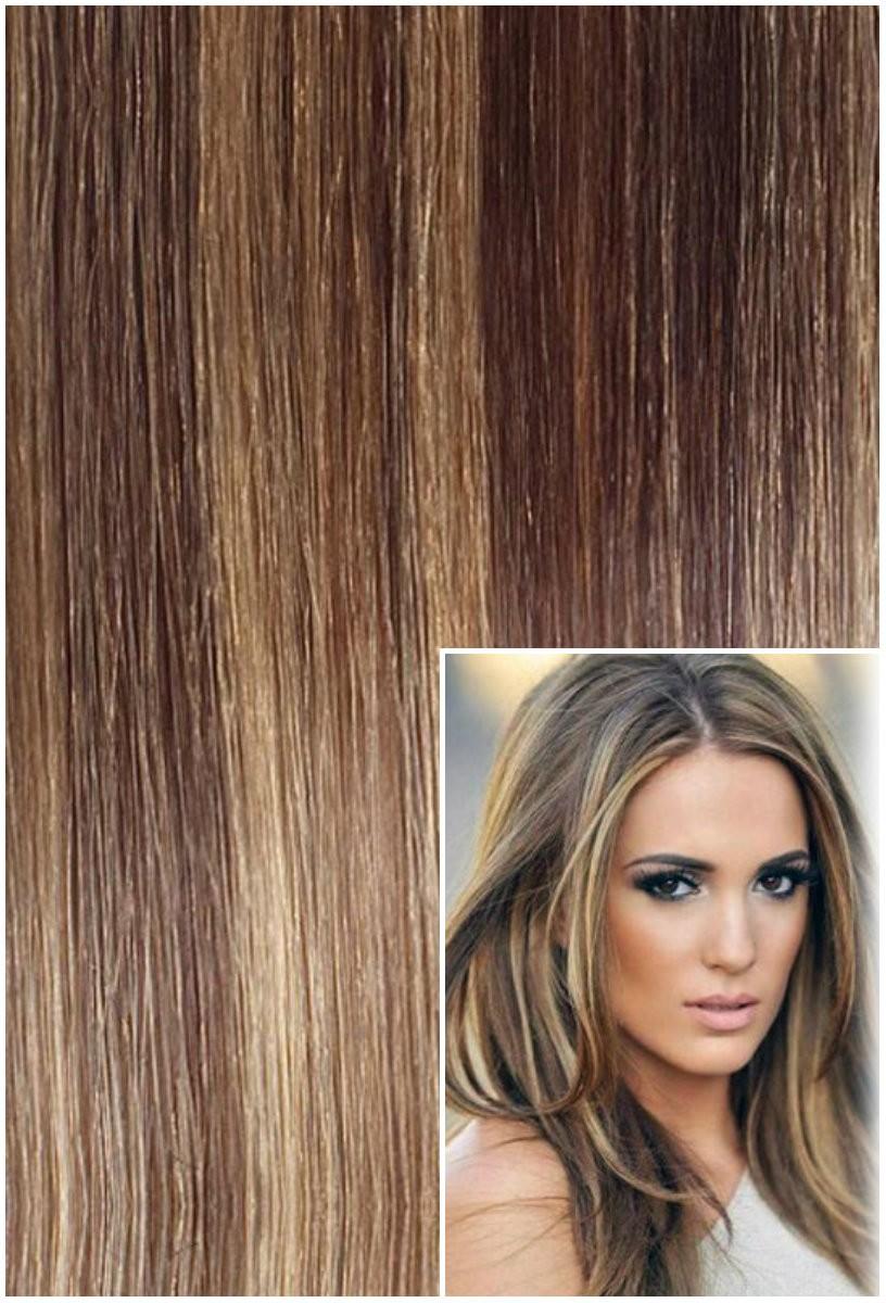 Vlasy k prodloužení tape in, 50 cm, 40 ks - TMAVÝ MELÍR