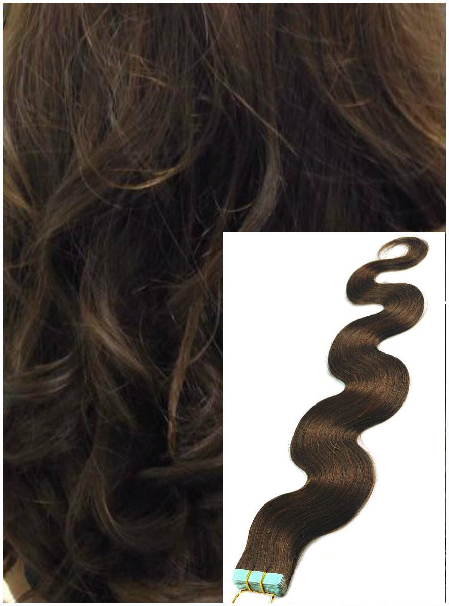 Vlnité vlasy k prodloužení tape in, 60 cm, 40 ks - STŘEDNĚ HNĚDÉ