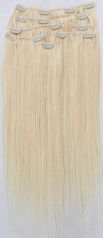 Platinové blond vlasy k prodloužení - Clip in set, 8 ks, 50 cm (060)