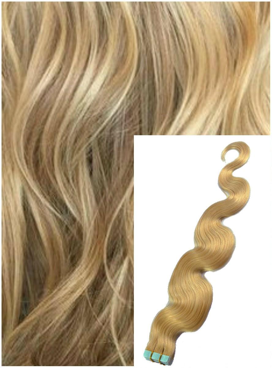 Vlnité vlasy k prodloužení tape in, 60 cm, 40 ks - PŘÍRODNÍ BLOND
