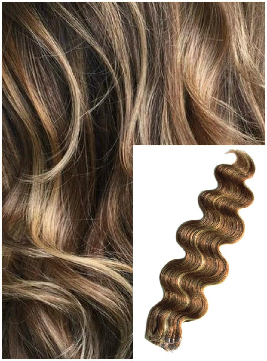 Vlnité vlasy k prodloužení tape in, 60 cm, 40 ks - TMAVÝ MELÍR