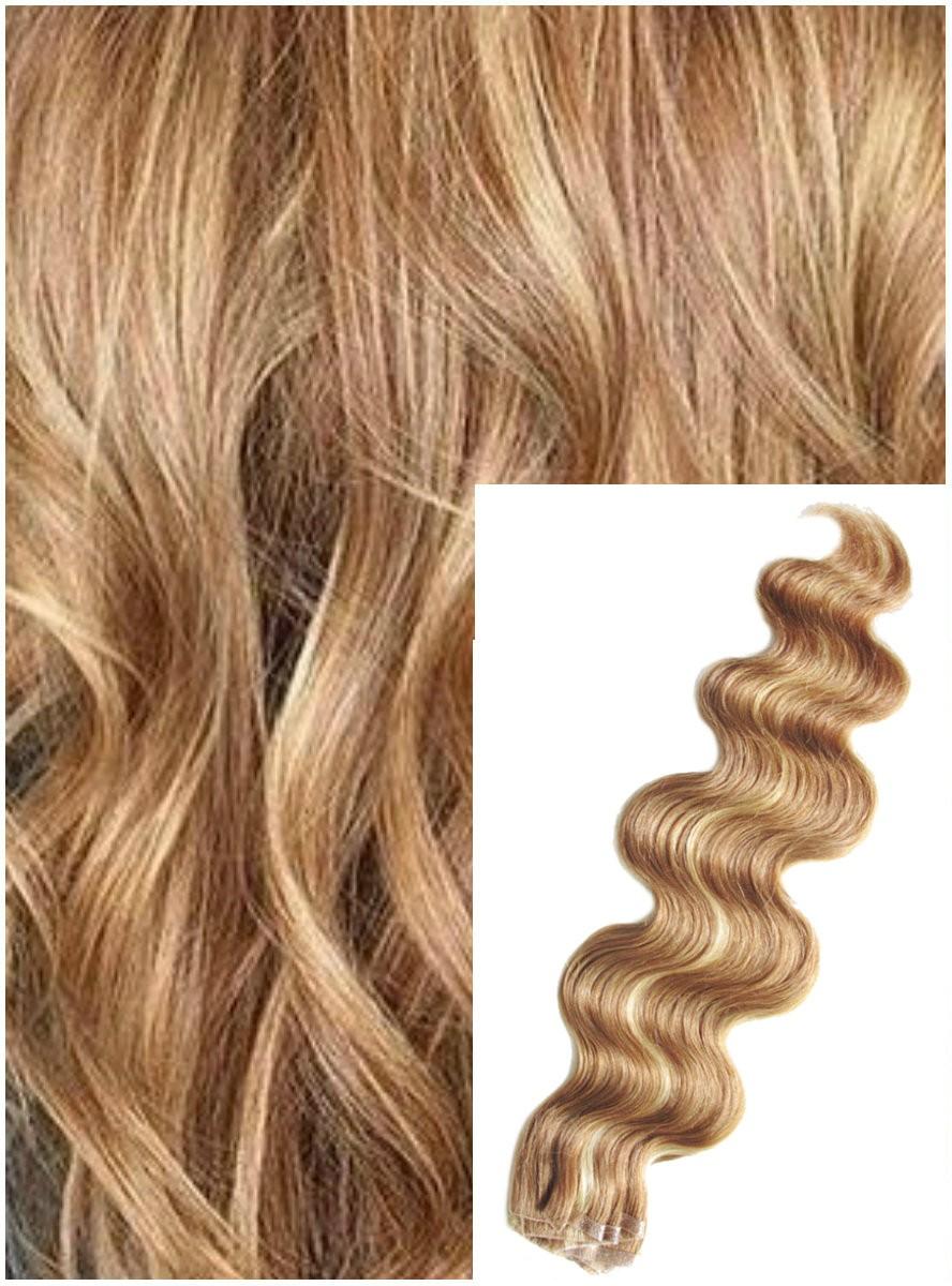 Vlnité vlasy k prodloužení tape in, 60 cm, 40 ks - PŘÍRODNÍ / SVĚTLEJŠÍ BLOND