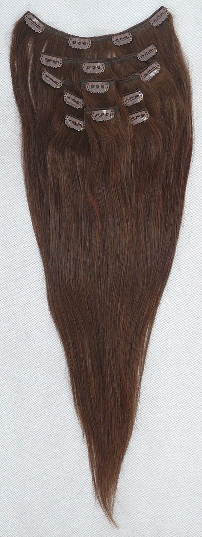 Hnědé vlasy k prodloužení - Clip in set, 8 ks, 50 cm (006)