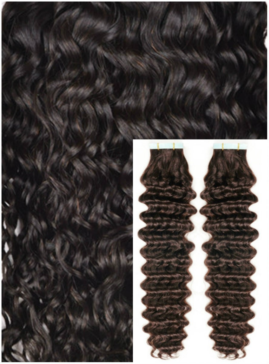 Kudrnaté vlasy k prodloužení tape in, 50 cm, 40 ks - TMAVĚ HNĚDÉ