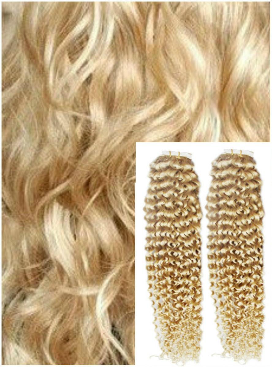 Kudrnaté vlasy k prodloužení tape in, 50 cm, 40 ks - NEJSVĚTLEJŠÍ BLOND