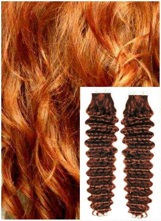 Kudrnaté vlasy k prodloužení tape in, 50 cm, 40 ks - MĚDĚNÉ