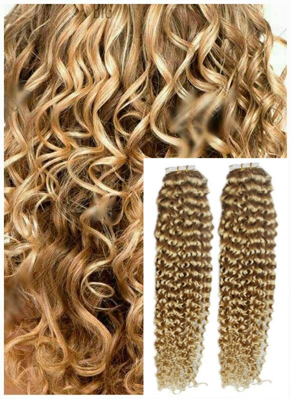 Kudrnaté vlasy k prodloužení tape in, 60 cm, 40 ks - PŘÍRODNÍ BLOND