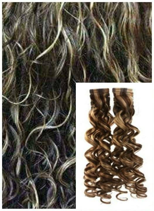Kudrnaté vlasy k prodloužení tape in, 60 cm, 40 ks - TMAVÝ MELÍR