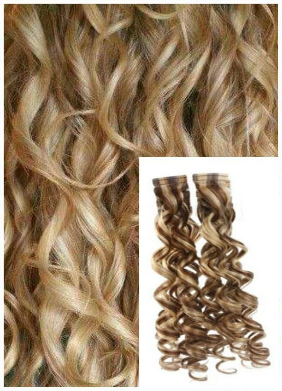 Kudrnaté vlasy k prodloužení tape in, 60 cm, 40 ks - SVĚTLÝ MELÍR