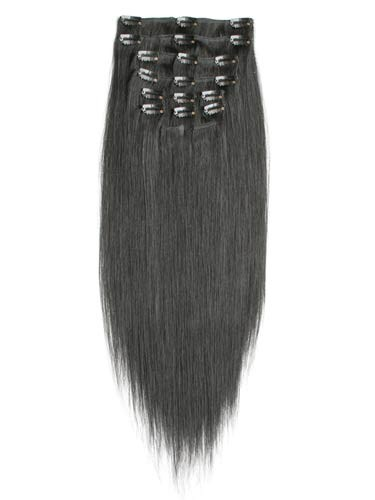 Přírodně černé vlasy k prodloužení - Clip in sada, 8 ks, 50 cm (001B)