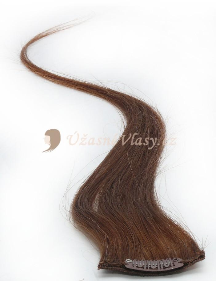 Světle hnědé vlasy k prodloužení - Clip in prameny, 50 cm (012)