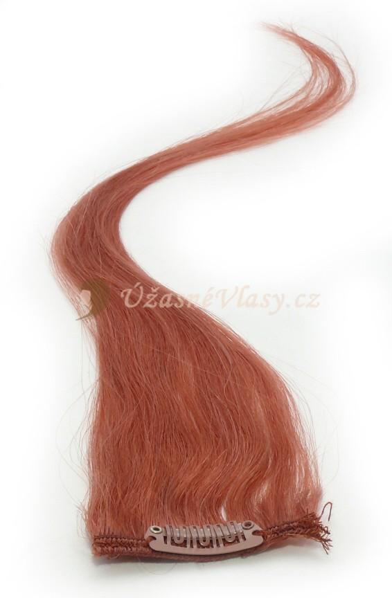 Rudo hnědé vlasy k prodloužení - Clip in prameny, 50 cm (350)