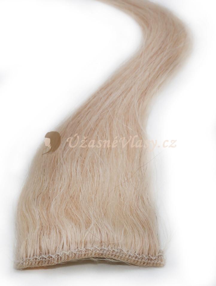 Nejsvětlejší blond vlasy k prodloužení - Clip in prameny, 50 cm (613)